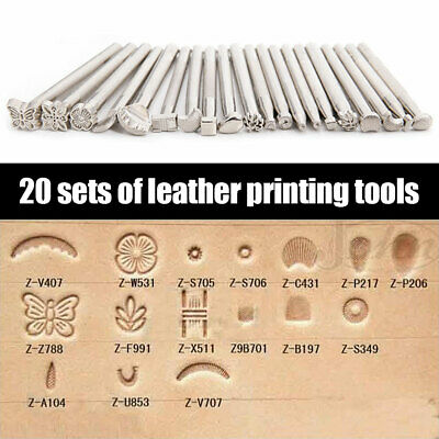 20PCS DIY Leather Engraving Craft Stamping Tool Set Carving Craft Stamps Saddle