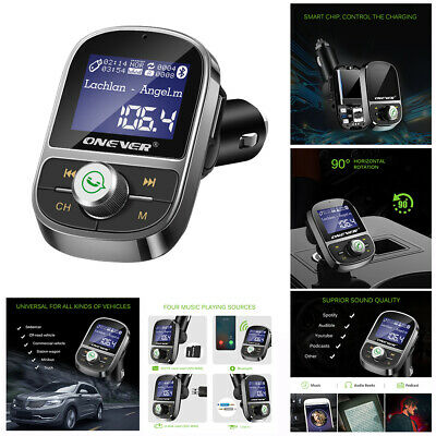 ONEVER Bluetooth FM Transmitter Car Charger MP3 Adapter Hands Free Car Kit AU