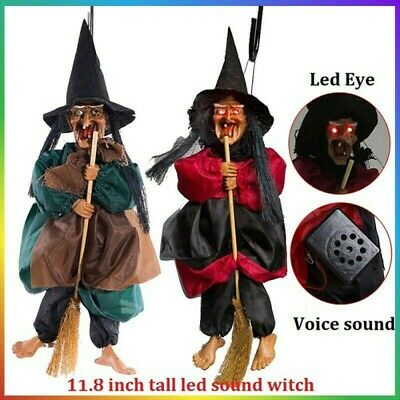 """UK 12"""" Halloween Hanging Animated Talking Witch Props Laughing Sound Control"""