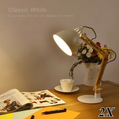 2X Swing Arm Wood Desk Table Lamp LED Table Bed Reading Light Modern Style White