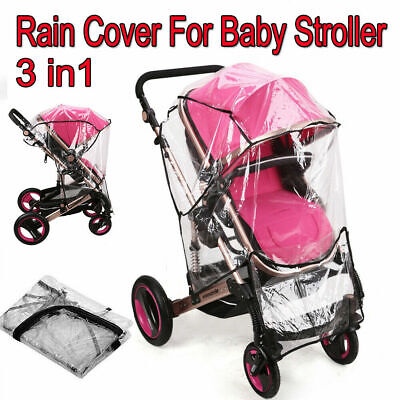 Universal Buggy Rain Cover Baby Pushchair Stroller Pram Raincover Wind Shield UK
