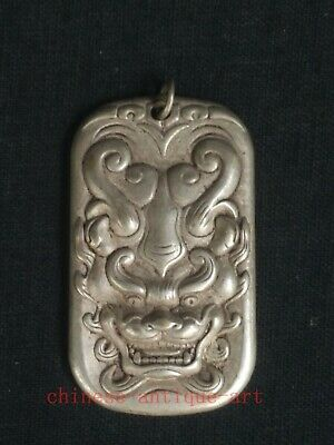 Collection Chinese Tibet Silver Hand-made Force Dragon Statue Necklace Pendant