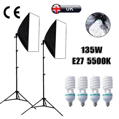135W Bulb Photography Studio Softbox Continuous Lighting Soft Box Light Stand UK