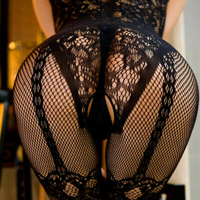Women Lace Mesh Crotchless Full Body Stocking Clothing Lingerie Jumpsuit Suits H