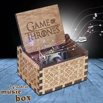 Game of Thrones Theme Music Box Engraved Wooden Crafts Interest Xmas Toys Gifts