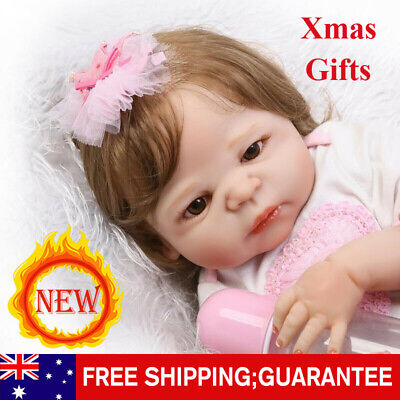 22'' Silicone Reborn Baby Dolls Lifelike Dolls+Clothes Girl Gifts Handmade HOT!