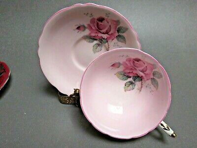 Pink Paragon double warrant single cabbage rose wide mouth cup & saucer A7814