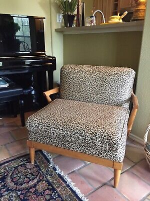 Pecan Vintage living room chairs upholstered in fine leopard print circa 1957
