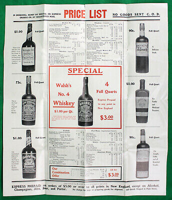 Original Early 1900s Walsh & Co. Distributors Advertising Broadside