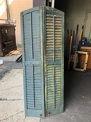 "Tall pair c1880 arched top window house shutter panels 72"" x 14"" w/old green B"