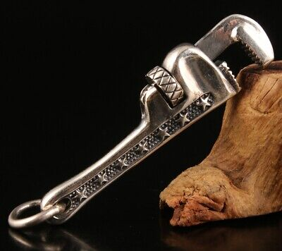 Preciou China Solid Silver Pendant Statue Wrench Hand-Carved Mascot Gift