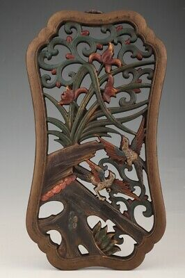 Unique Chinese Wood Pendant Hollow Out Hand Carved Exquisite Flower Bird