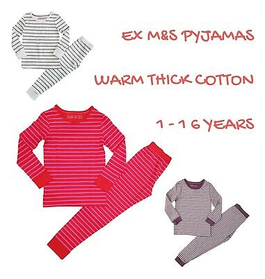 Ex M+S Girls Pyjamas Pyjamas Warm PJs PJ Set Long Sleeve Snuggle Fit Kids Cotton