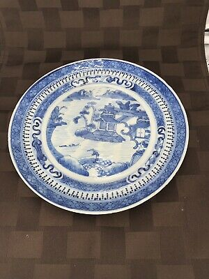 """Antique Chinese Export Canton Willow Blue & White Plate, 8 1/2"""""""