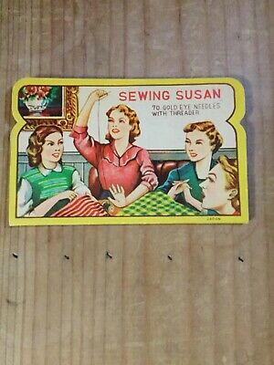 Vintage Sewing Susan Sewing Needle Book with Gold Eye Needles & Threader Japan