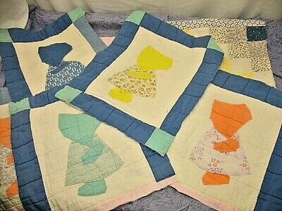 Vintage Sunbonnet Sue Hand Quilted  Old Cutter Quilt Pieces Salvaged Fabric