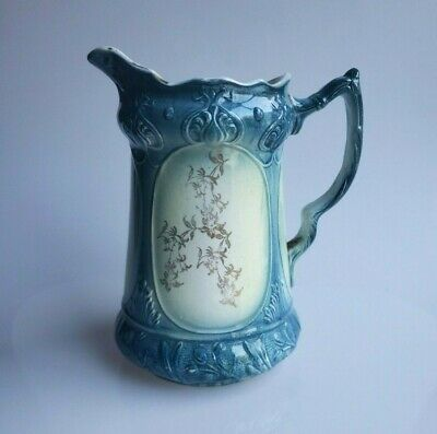 Antique Tokio semi-porcelain pitcher teal blue with gold floral design 1904
