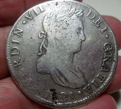 (1821 CG ) MEXICO (8 REALES) SILVER (DURANGO) --WAR of INDEPENDENCE --- -