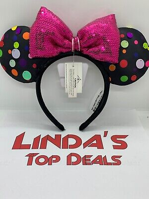 Disney Parks Minnie Mouse Ears Headband Rock the Dots Pink Bow Sequins 2019