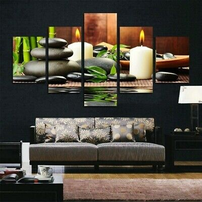 Candle Bamboo Zen Stone Modern Art Canvas Print Poster Living Room Painting