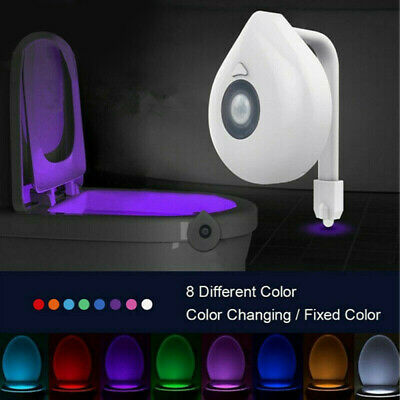 8 Colors Toilet Bowl Night Light LED Motion Activated Seat Sensor Lamp Bathroom