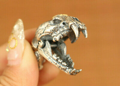 15g 925 soild silver dinosaur head mouth can open Statue pendant necklace