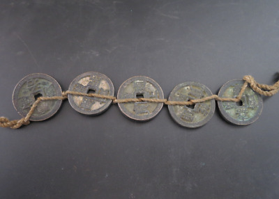 Collect 5pc Chinese Bronze Coin China Old Dynasty Antique Currency Cash #14