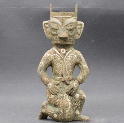 Collection Chinese antiques ancient bronze inlaid silver Sanxingdui human statue