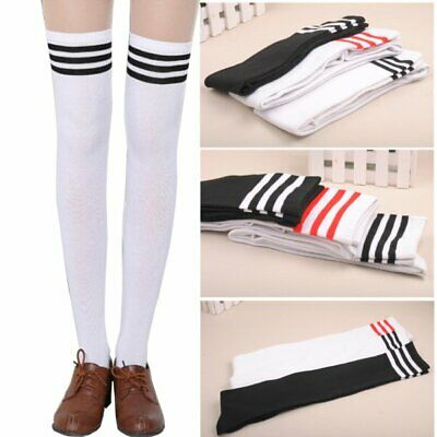 Women's Hot Thigh High Sexy Cotton Socks Striped Over Knee Girl Lady Stockings