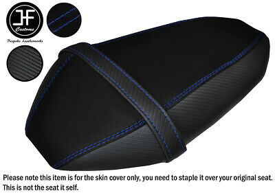 R Blue St Suede & Carbon Vinyl Custom For Yamaha Mt 07 700 18-19 Rear Seat Cover
