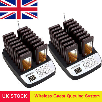 Retekess Restaurant Wireless Paging System 2*Transmitter+32*Chargerable Pager UK