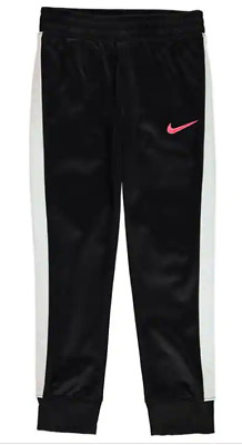 Nike Swoosh Track Pants Infant Girls Black/WhitePink Logo Size 5-6 Years *REF109