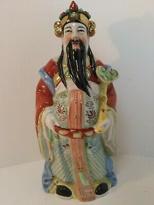 "Vintage Hand Painted Ceramic Chinese Figurine Statue of Immortal Luk (Lu) 8.5""H"