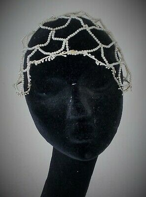 Rare 1920s French faux seed pearl and wax flower wedding headdress / scull cap