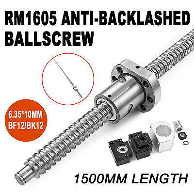 1605 1500mm Ball Screw Lead Rod Machined + Shaft Coupling BF12 BK12 End Support
