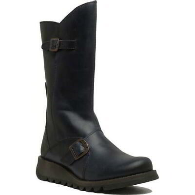 Fly London Mes 2 Womens Ladies Blue Mid Calf Leather Wedge Boots Size UK 4-8