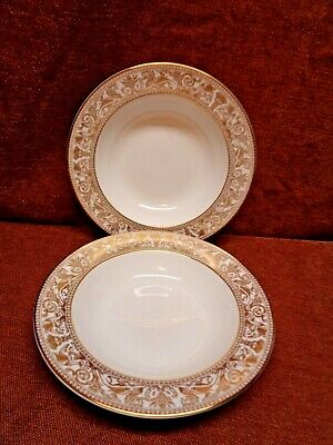 Wedgwood Gold Florentine 2 Of The 8 Inch Rimmed Soup Bowls W 4219