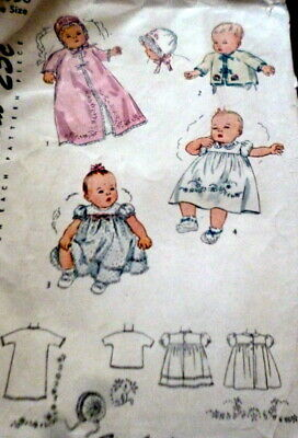 LOVELY VTG 1940s INFANTS EMBROIDERED LAYETTE Sewing Pattern