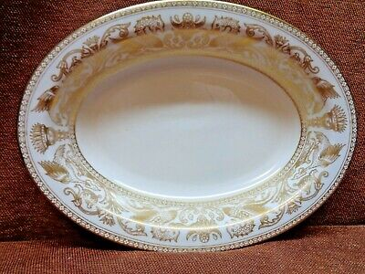 Wedgwood Gold Florentine A 10 Inch Oval Serving Bowl W 4219