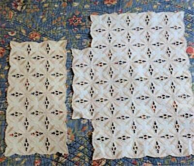 2 Pcs Vintage Beautifully Embroidered Table or Dresser Runners Mats Cream & Gold