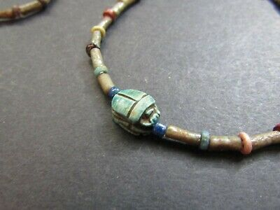 NILE  Ancient Egyptian Scarab Amulet Mummy Bead Necklace ca 1200 BC