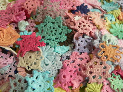 100pc Rainbow coloured  tiny  mini cotton crochet medallions doilies and flower