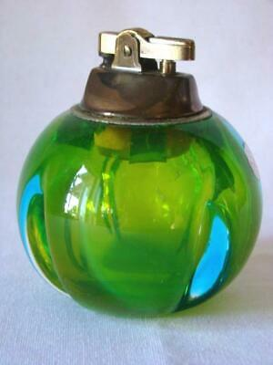 Mid-Century Modern MURANO GLASS Ball Table Lighter Paperweight Green Blue, Label