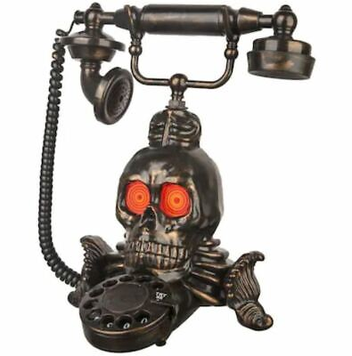 Animated Halloween Skull Telephone Speaks Spooky Phrases Creepy Vintage Decor