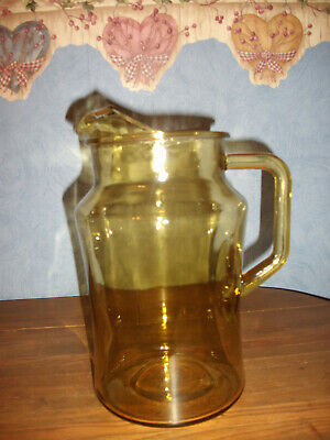 """Vtg. Amber Water/Beverage Pitcher with Ice Lip- 8.5"""" Tall"""