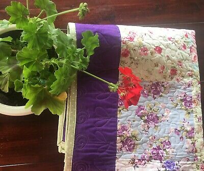 All Roses Cottage Garden Purple Handmade Patchwork Lap/ Reading Quilt