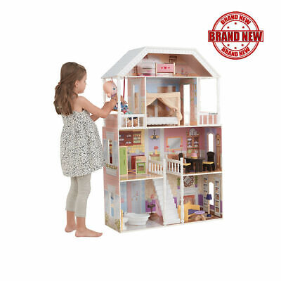 Barbie Size Wooden Dollhouse Furniture Doll Girls Playhouse Play House Child Toy