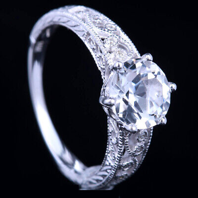 Real Diamonds Jewelry Sterling Silver Natural White Topaz Antique Vintage Ring