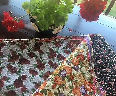 Cottage Garden Roses Handmade Patchwork Throw/ Lap/ Readiing Quilt