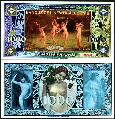New Banque De L'newdgaledonie 1000 Francs Nude Frolicking Ladies Money Art Note!